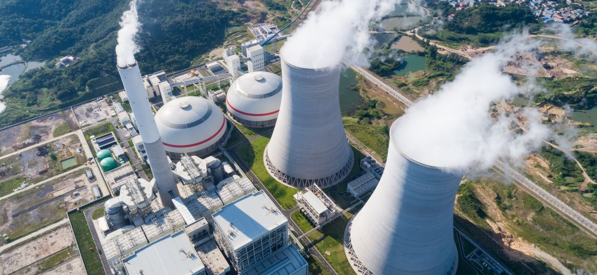 Aerial,View,Of,Modern,Power,Plant,,Industrial,Landscape